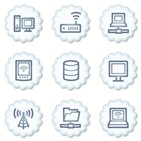 Network web icons, white buttons Stock Photo - 7339093