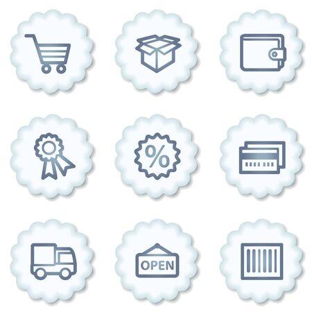 Shopping web icons set 2, white buttons Stock Photo - 7339098