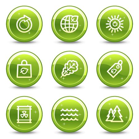 Ecology web icons set 3, green glossy circle buttons series Stock Photo - 7339297
