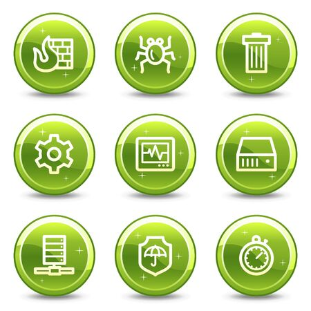 Internet security web icons, green glossy circle buttons series Stock Photo - 7339286