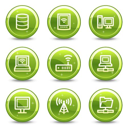 Network web icons, green glossy circle buttons series photo