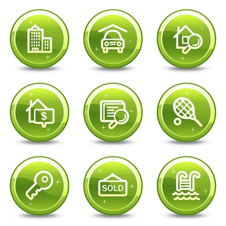 Real estate web icons, green glossy circle buttons series Stock Photo - 7339296