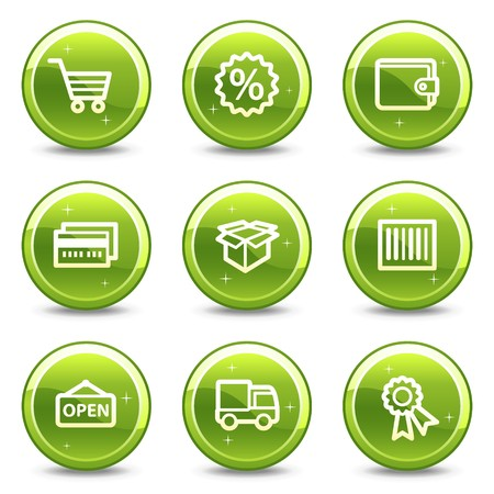 Shopping web icons set 2, green glossy circle buttons series Фото со стока