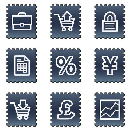 E-business web icons, navy stamp series