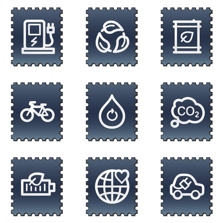 electro world: Ecology web icons set 4, navy stamp series