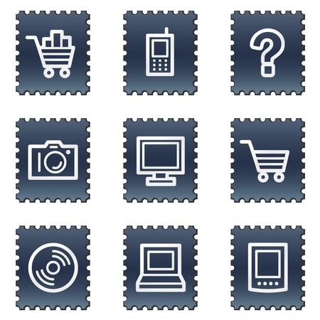 Electronics web icons set 1, navy stamp series photo
