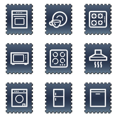 Home appliances web icons, navy stamp series photo