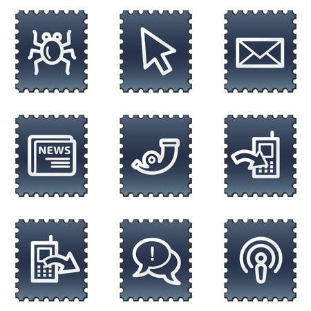 Internet web icons set 2, navy stamp series Stock Photo - 7339255