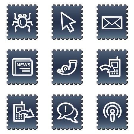 Internet web icons set 2, navy stamp series Stock Photo - 7339255