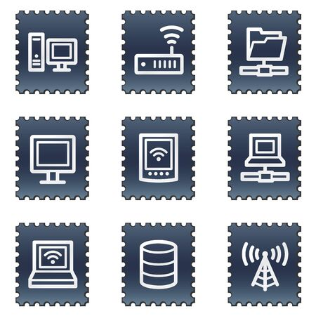 Network web icons, navy stamp series photo