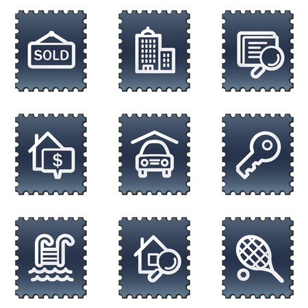 Real estate web icons, navy stamp series photo