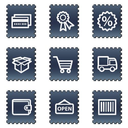 Shopping web icons set 2, navy stamp series Stock Photo - 7339219