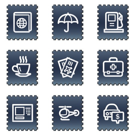 Travel web icons set 4, navy stamp series photo