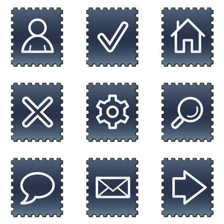 Basic web icons, navy stamp series Stock Photo - 7339205