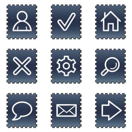 Basic web icons, navy stamp series Stock Photo - 7339205