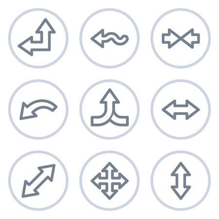 Arrows web icons set 2, white circle series Иллюстрация