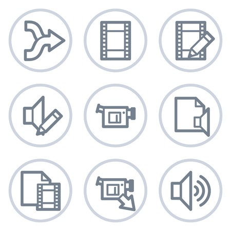 videocamera: Audio video edit web icons, white circle series Illustration
