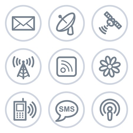 Communication web icons, white circle series Иллюстрация