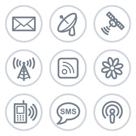 Serie de círculo de iconos, blanco de comunicación web  Ilustración de vector