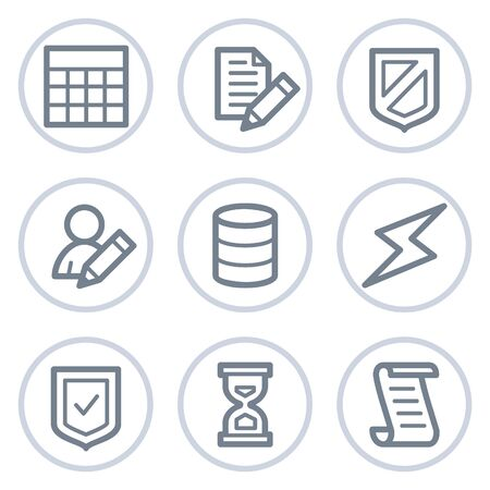 Database web icons, white circle series Vector