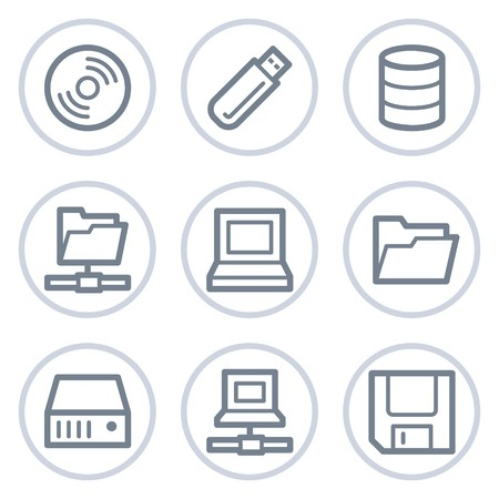 Drives and storage web icons, white circle series Stock Vector - 7422722