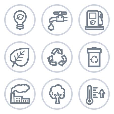 Ecology web icons set 1, white circle series Vector