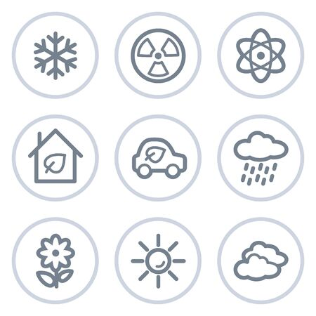 Ecology web icons set 2, white circle series Stock Vector - 7422762