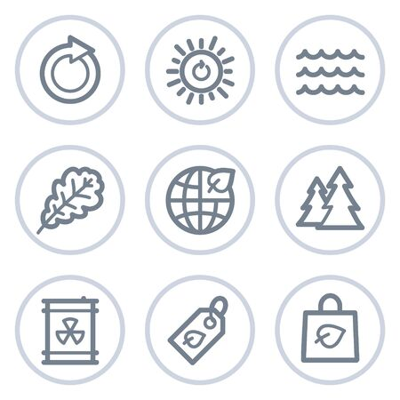 Ecology web icons set 3, white circle series  Stock Vector - 7422755