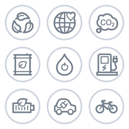 electro world: Ecology web icons set 4, white circle series Illustration