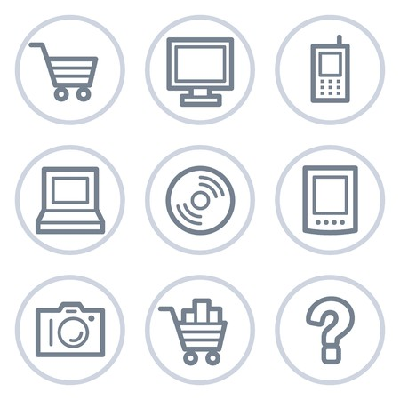 Electronics web icons set 1, white circle series Stock Vector - 7422729