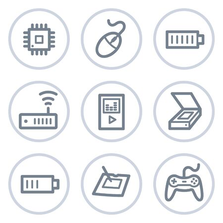 Electronics web icons set 2, white circle series Stock Vector - 7422745