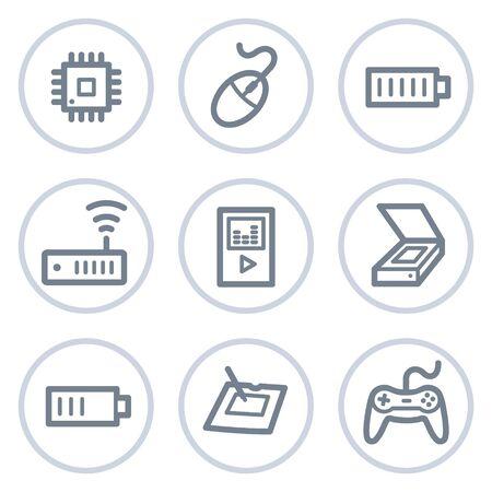 Electronics web icons set 2, white circle series Stock Vector - 7422745