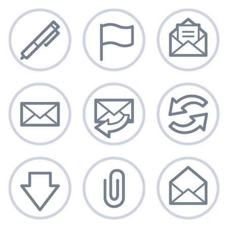webmail: E-mail web icons, white circle series