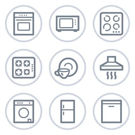 home appliances: Electrodom�sticos web serie de c�rculo de iconos, blanco  Vectores
