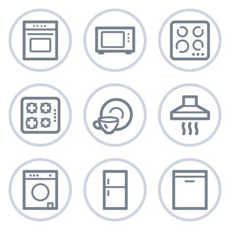Home appliances web icons, white circle series Иллюстрация