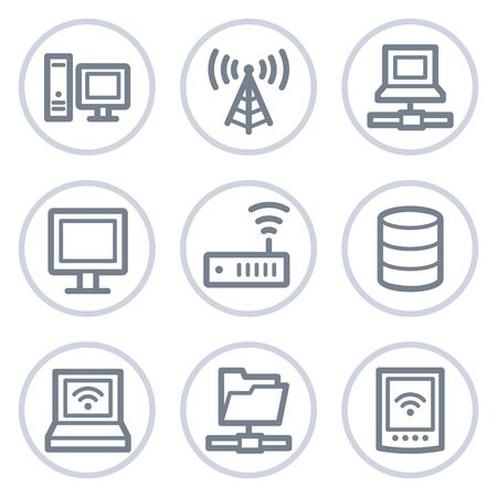 Network web icons, white circle series