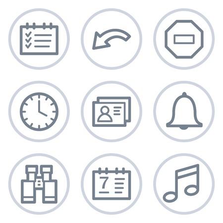 Organizer web icons, white circle series