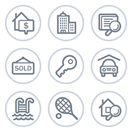 Real estate web icons, white circle series Stock Vector - 7422791