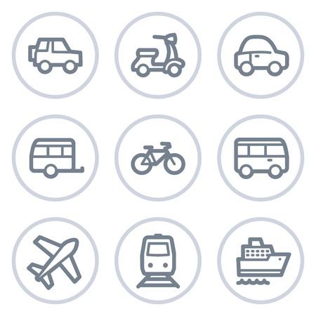steamship: Vervoer van web iconen, witte cirkel reeks Stock Illustratie