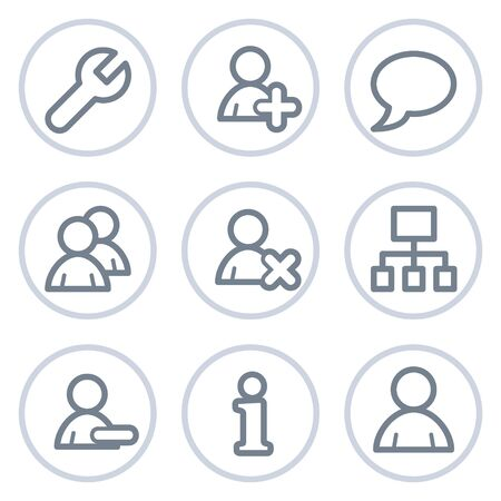 Users web icons, white circle series Vector