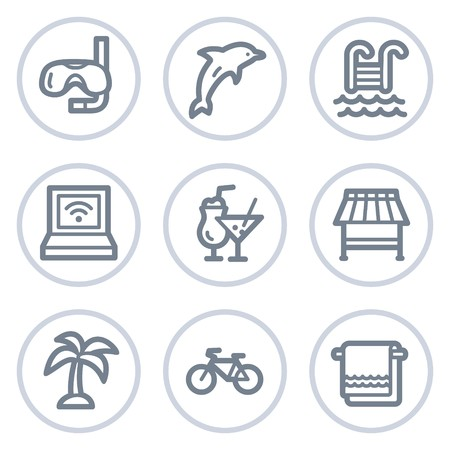 Vacation web icons, white circle series