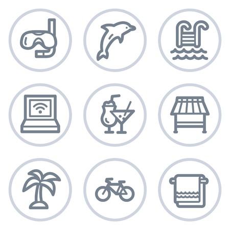 nurkować: Wakacje web ikony, biaÅ'y okrÄ…g serii