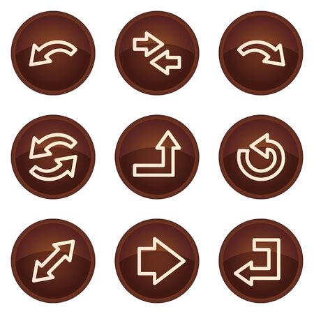 Arrows web icons set 1, chocolate buttons Vector