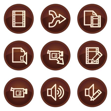 Audio video edit web icons, chocolate buttons Vector