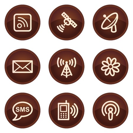access point: Communication web icons, chocolate buttons