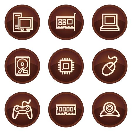 ddr: Computer web icons, chocolate buttons  Illustration