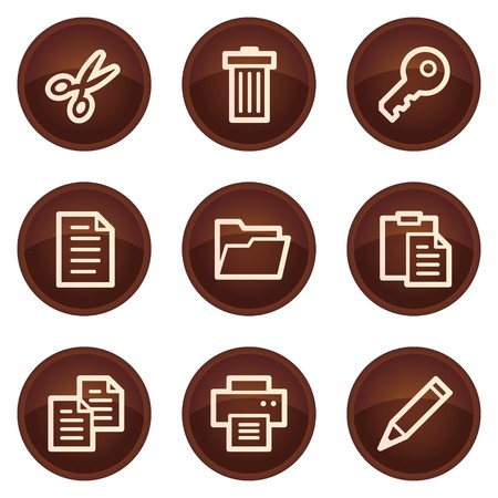 Document web icons set 1, chocolate buttons Vector