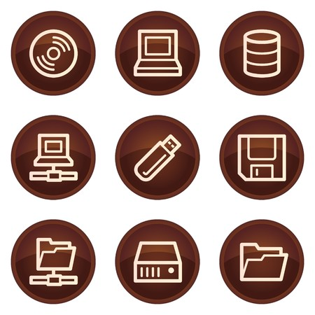 fdd: Drives and storage web icons, chocolate buttons
