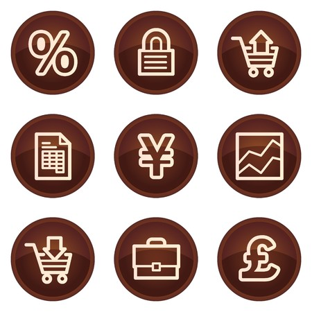 E-business web icons, chocolate buttons Vector