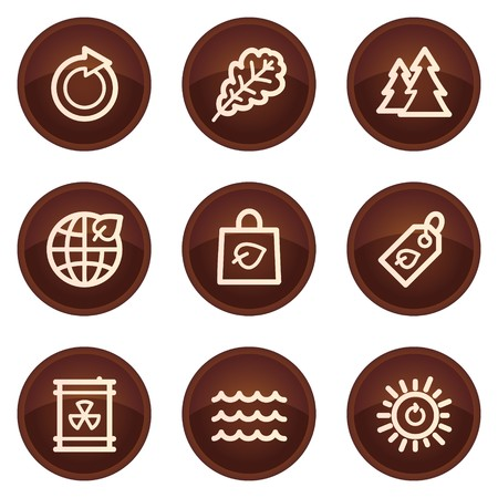 Ecology web icons set 3, chocolate buttons Stock Vector - 7422802